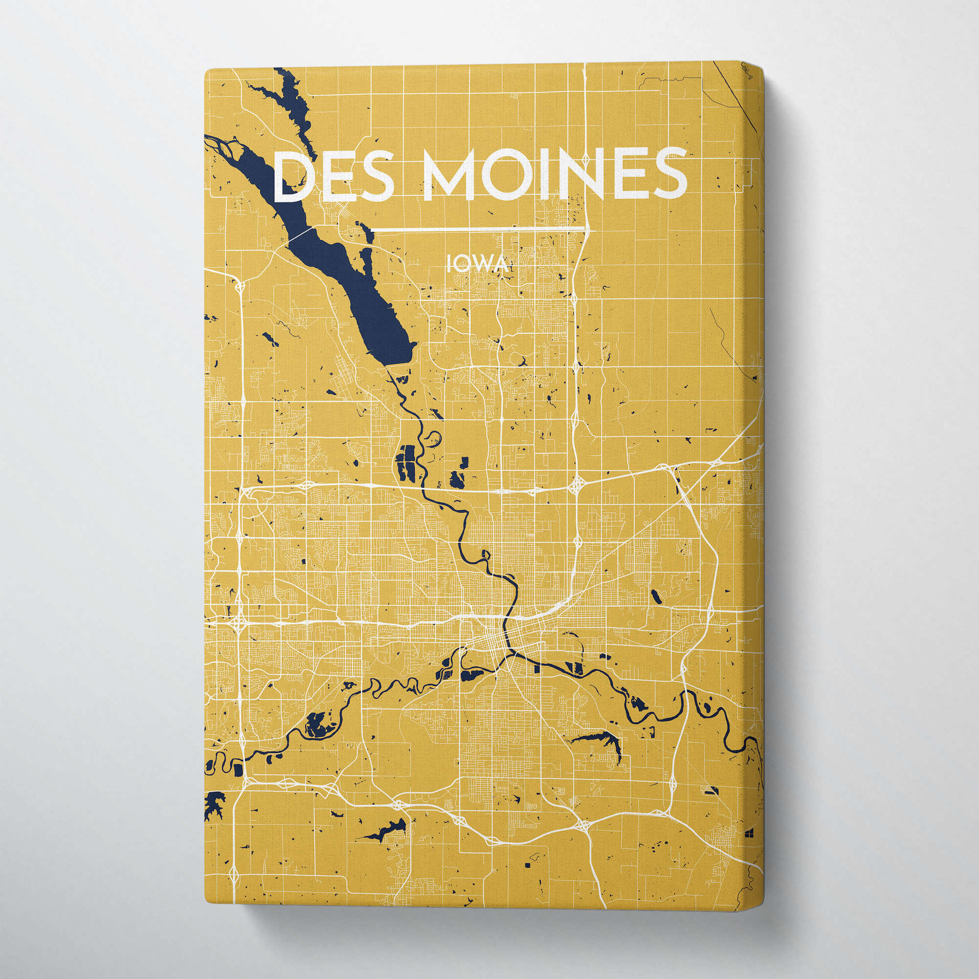 Des Moines Map Canvas Wrap - Point Two Design
