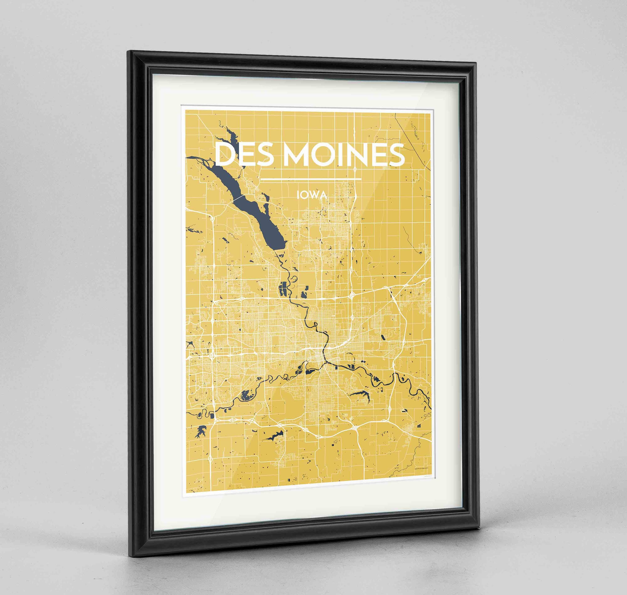 "Framed Des Moines Map Art Print 24x36"" Traditional Black frame Point Two Design Group"