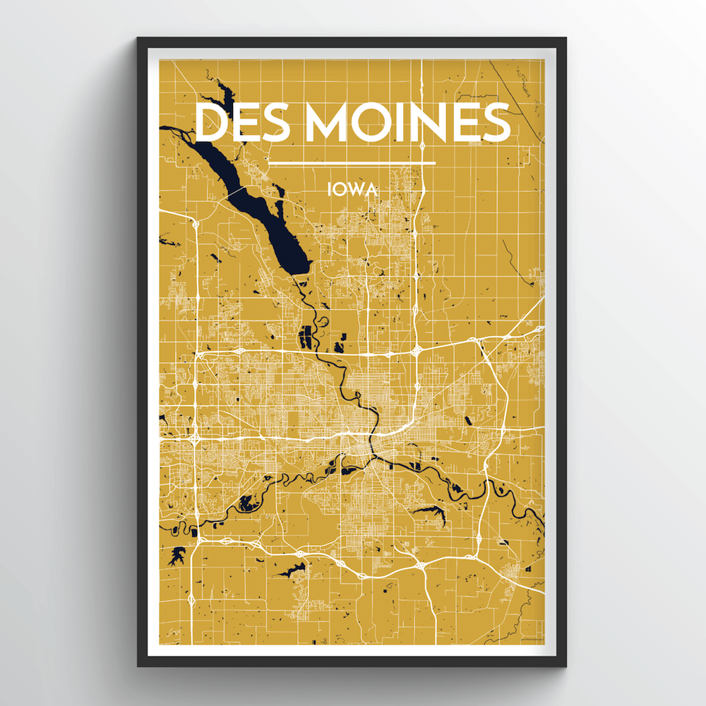 Des Moines Map Art Print - Point Two Design