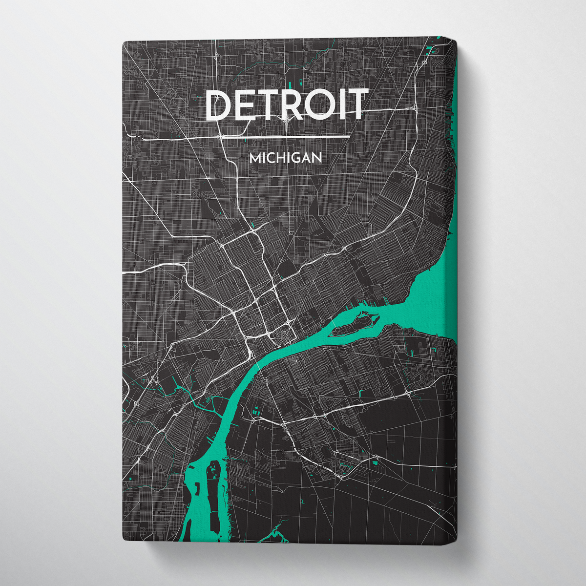 Detroit Map Canvas Wrap - Point Two Design