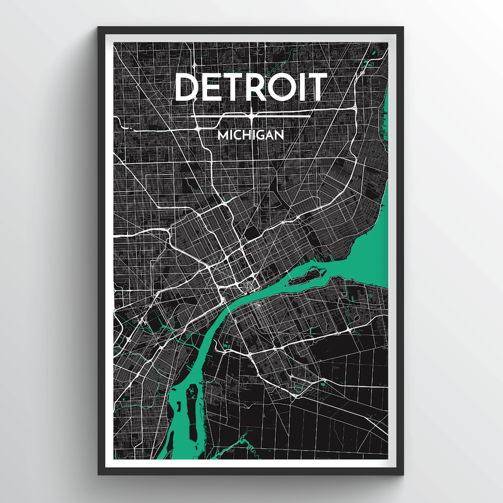 Detroit Map Art Print on map flags, map design, antique maps and prints, map clothing, map of california, map accessories, map home decor, map wedding, map medieval prints, map craft prints,