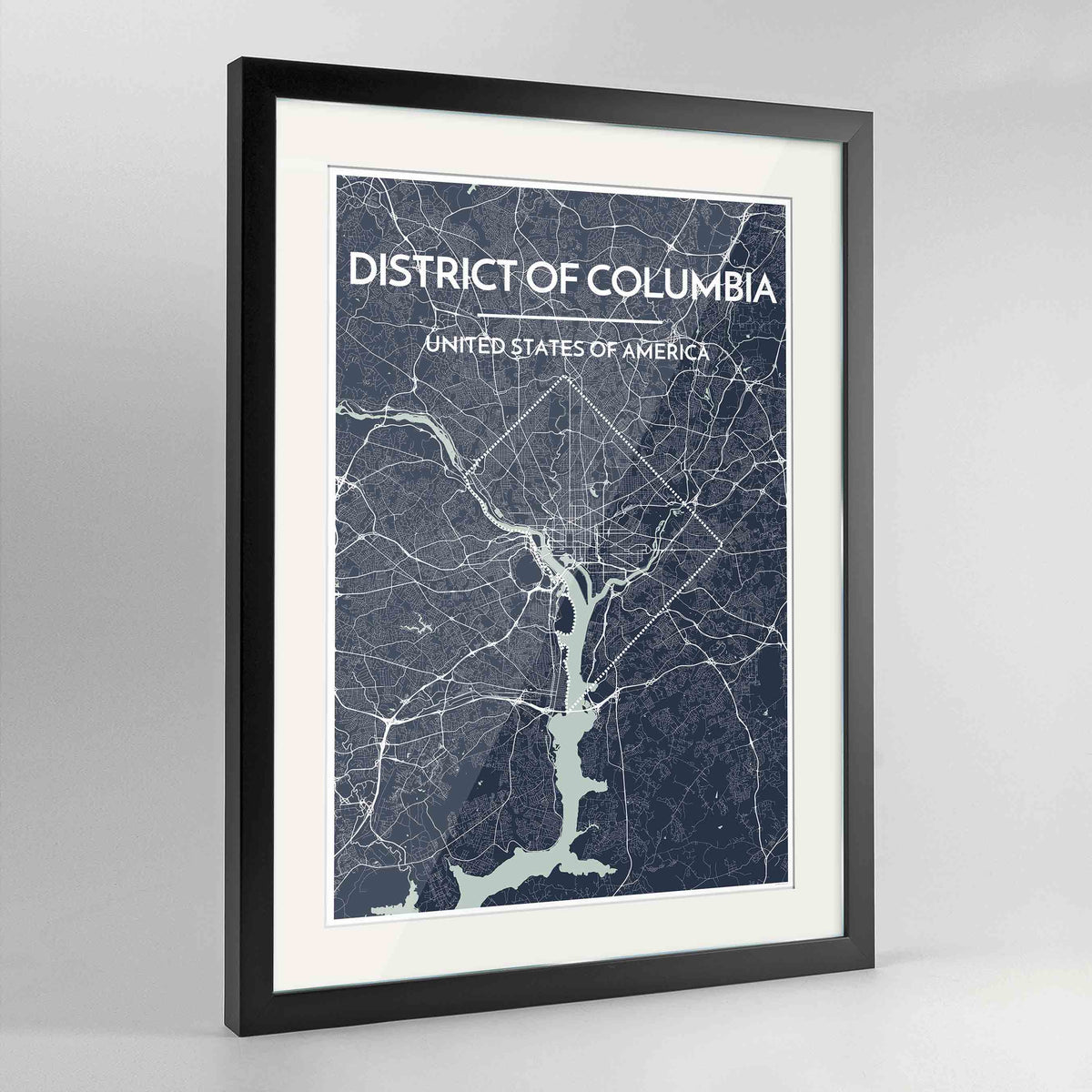 "Framed District of Columbia Map Art Print 24x36"" Contemporary Black frame Point Two Design Group"
