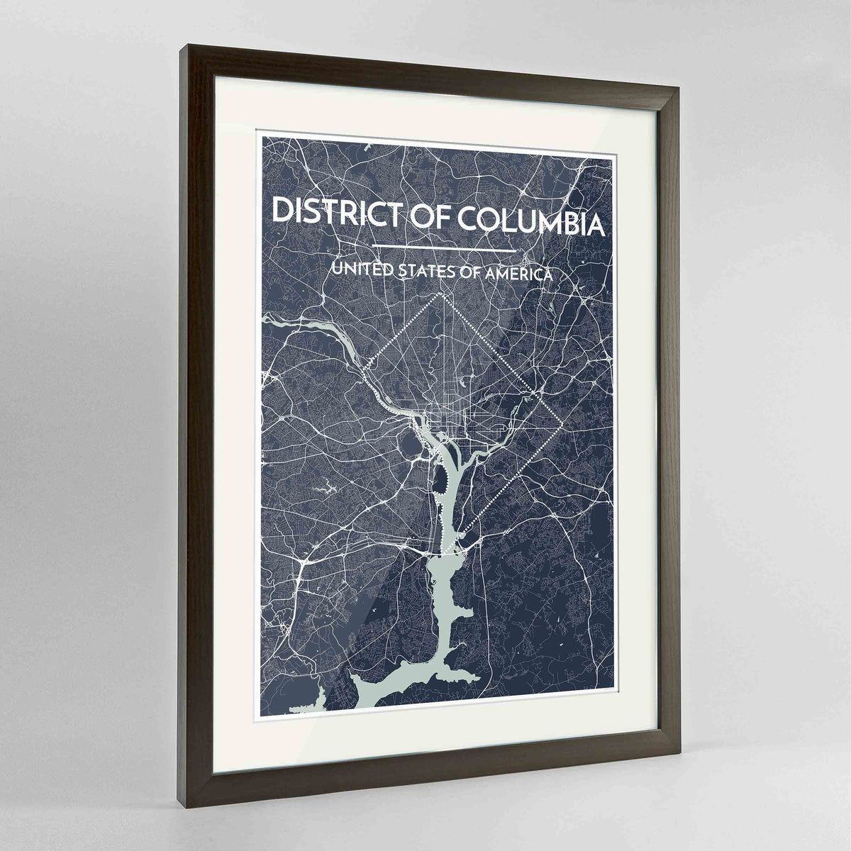 "Framed District of Columbia Map Art Print 24x36"" Contemporary Walnut frame Point Two Design Group"
