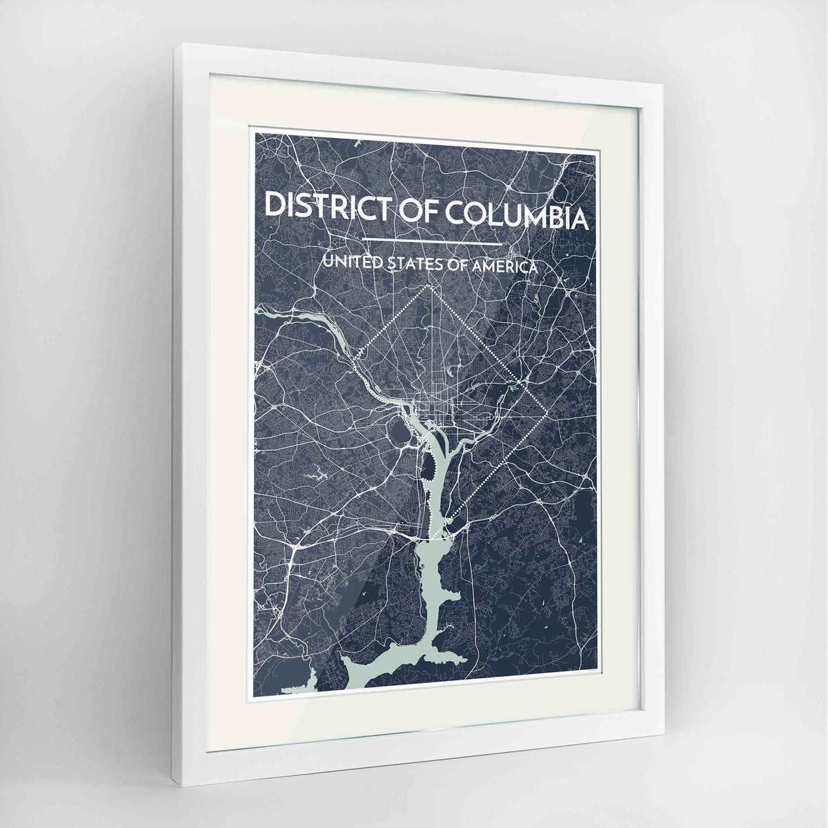 "Framed District of Columbia Map Art Print 24x36"" Contemporary White frame Point Two Design Group"