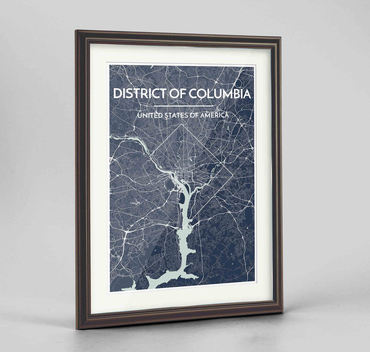 "Framed District of Columbia Map Art Print 24x36"" Traditional Walnut frame Point Two Design Group"
