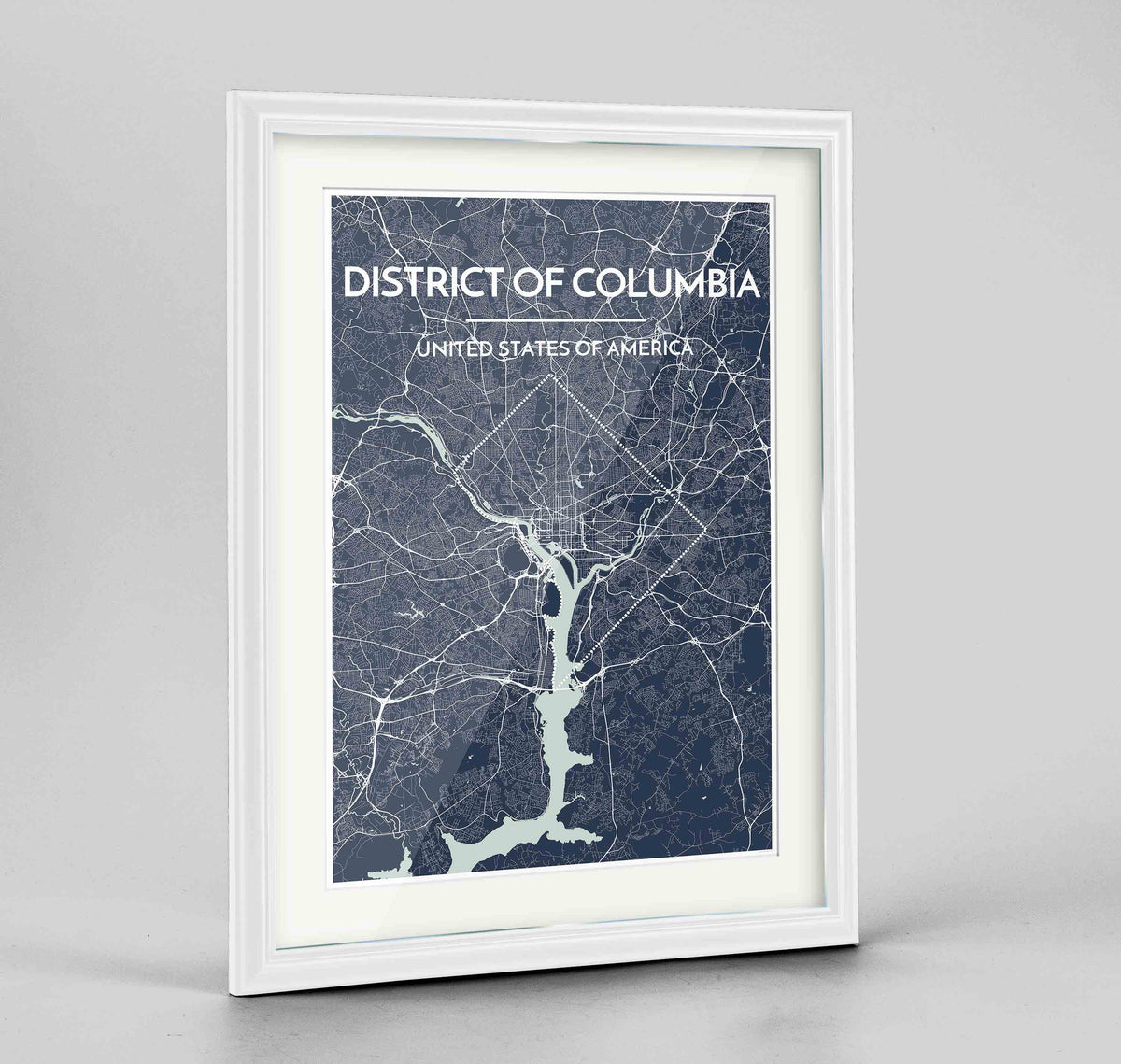 "Framed District of Columbia Map Art Print 24x36"" Traditional White frame Point Two Design Group"