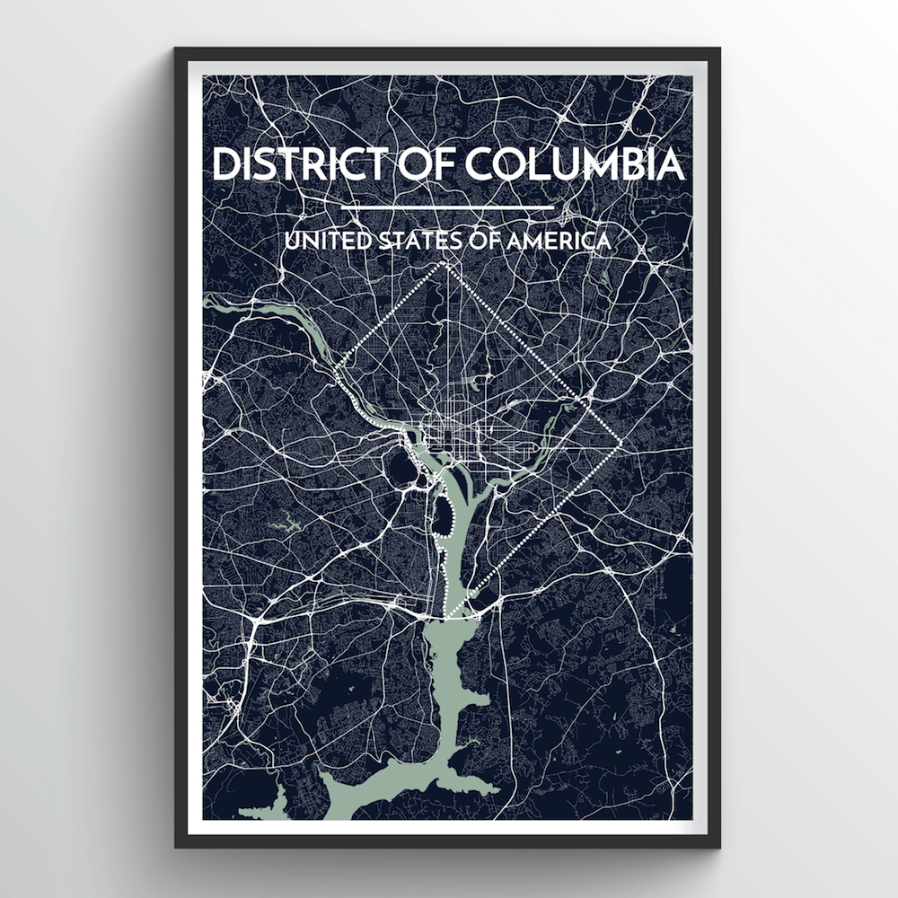 District of Columbia City Map Art Print - Point Two Design
