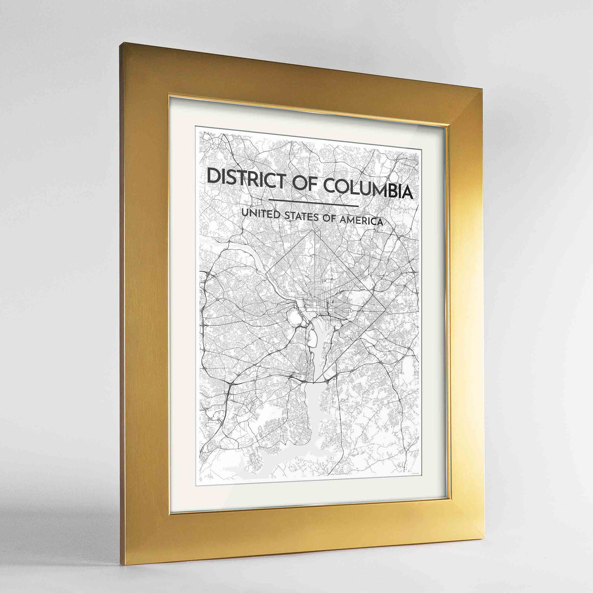 "Framed District of Columbia Map Art Print 24x36"" Gold frame Point Two Design Group"