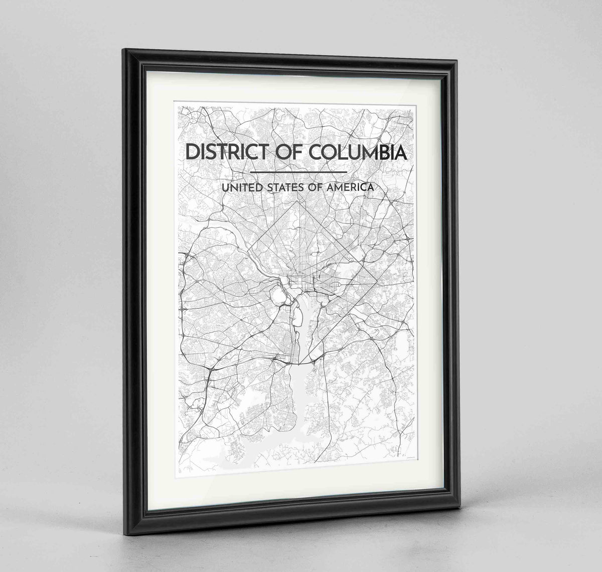 "Framed District of Columbia Map Art Print 24x36"" Traditional Black frame Point Two Design Group"