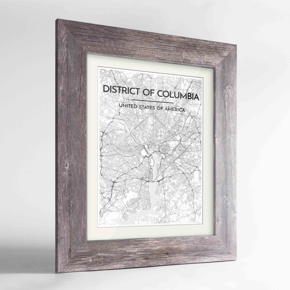 "Framed District of Columbia Map Art Print 24x36"" Western Grey frame Point Two Design Group"