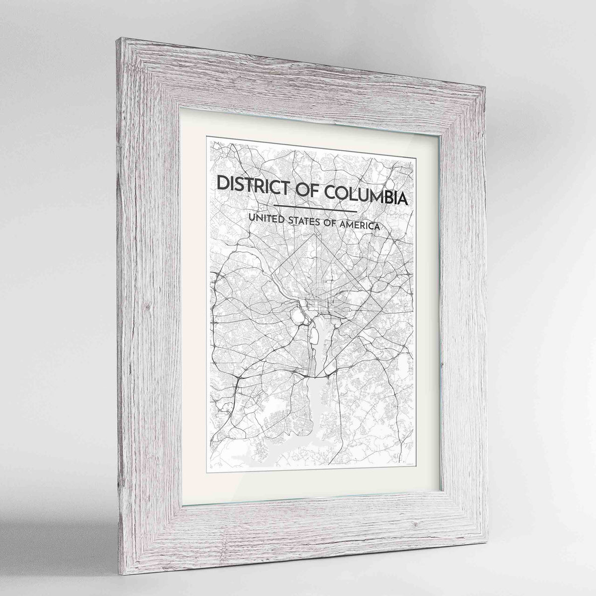 "Framed District of Columbia Map Art Print 24x36"" Western White frame Point Two Design Group"