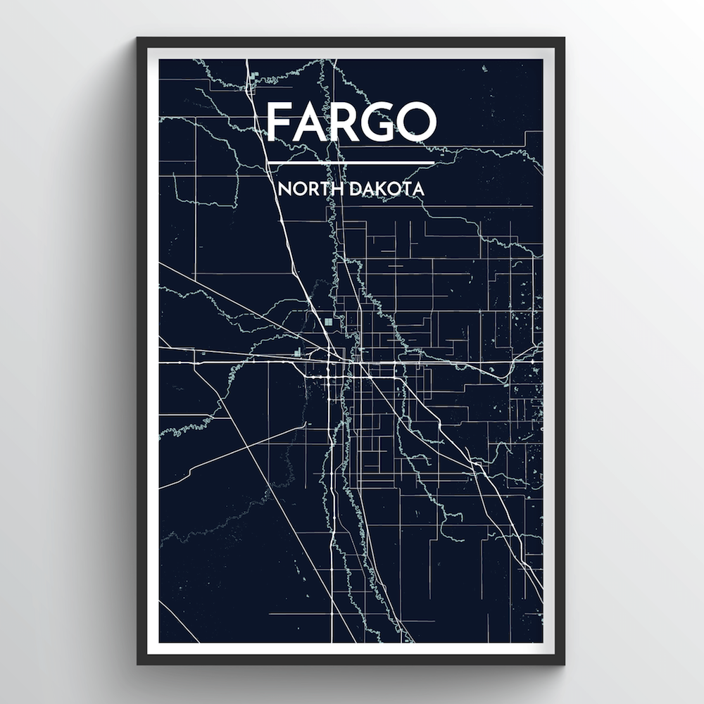 Fargo City Map Art Print - Point Two Design