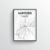 Hartford City Map Art Print - Point Two Design
