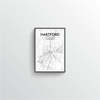 Hartford City Map Art Print - Point Two Design - Black & White Print