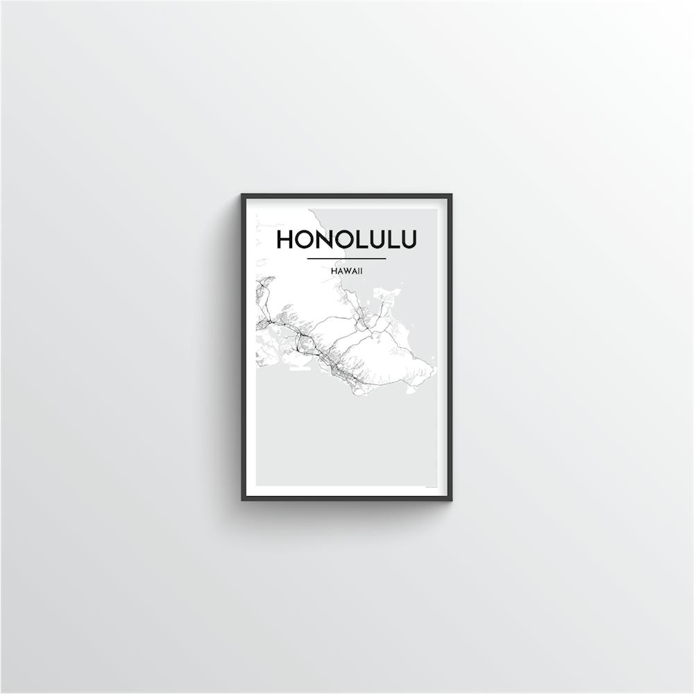 Honolulu City Map Art Print - Point Two Design - Black & White Print