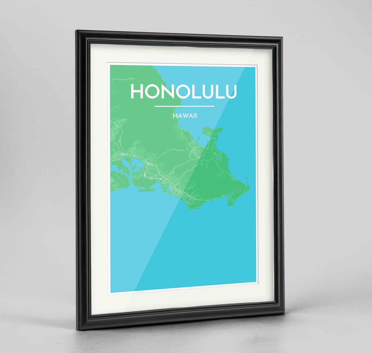 "Framed Honolulu Map Art Print 24x36"" Traditional Black frame Point Two Design Group"