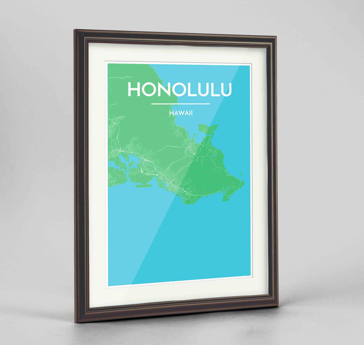 "Framed Honolulu Map Art Print 24x36"" Traditional Walnut frame Point Two Design Group"