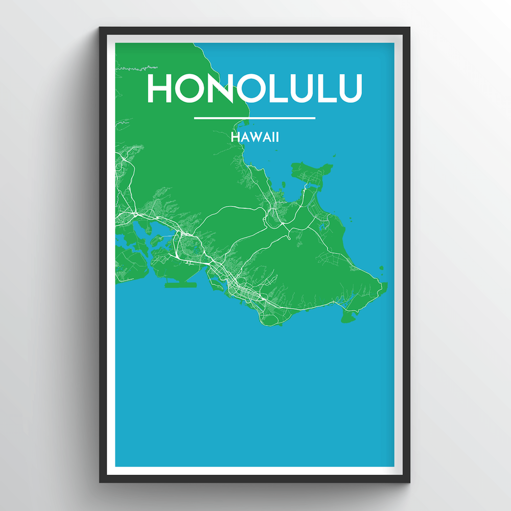 Honolulu City Map Art Print - Point Two Design