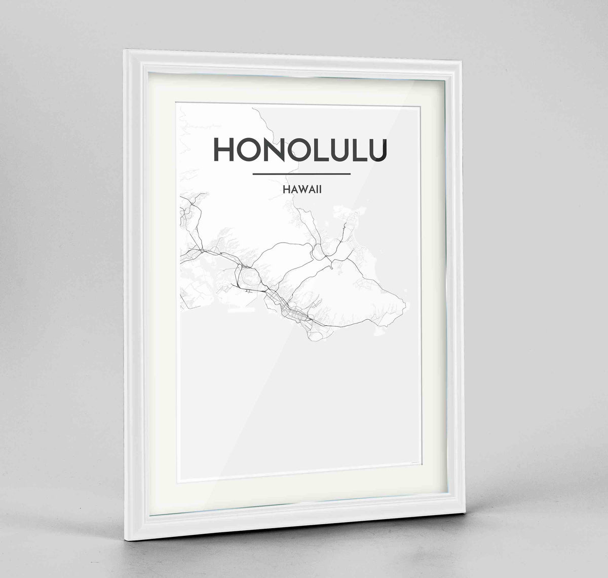 "Framed Honolulu Map Art Print 24x36"" Traditional White frame Point Two Design Group"