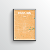 Houston City Map Art Print - Point Two Design