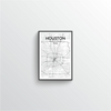 Houston City Map Art Print - Point Two Design - Black & White Print