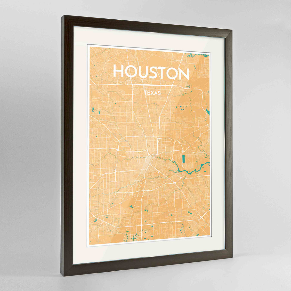 "Framed Houston Map Art Print 24x36"" Contemporary Walnut frame Point Two Design Group"