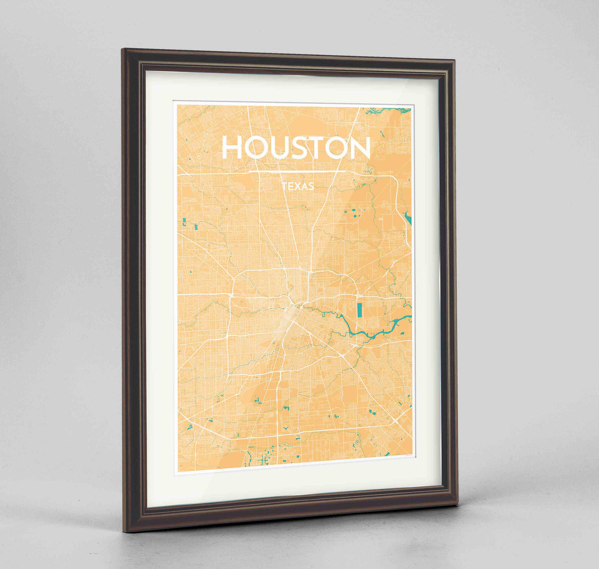 "Framed Houston Map Art Print 24x36"" Traditional Walnut frame Point Two Design Group"