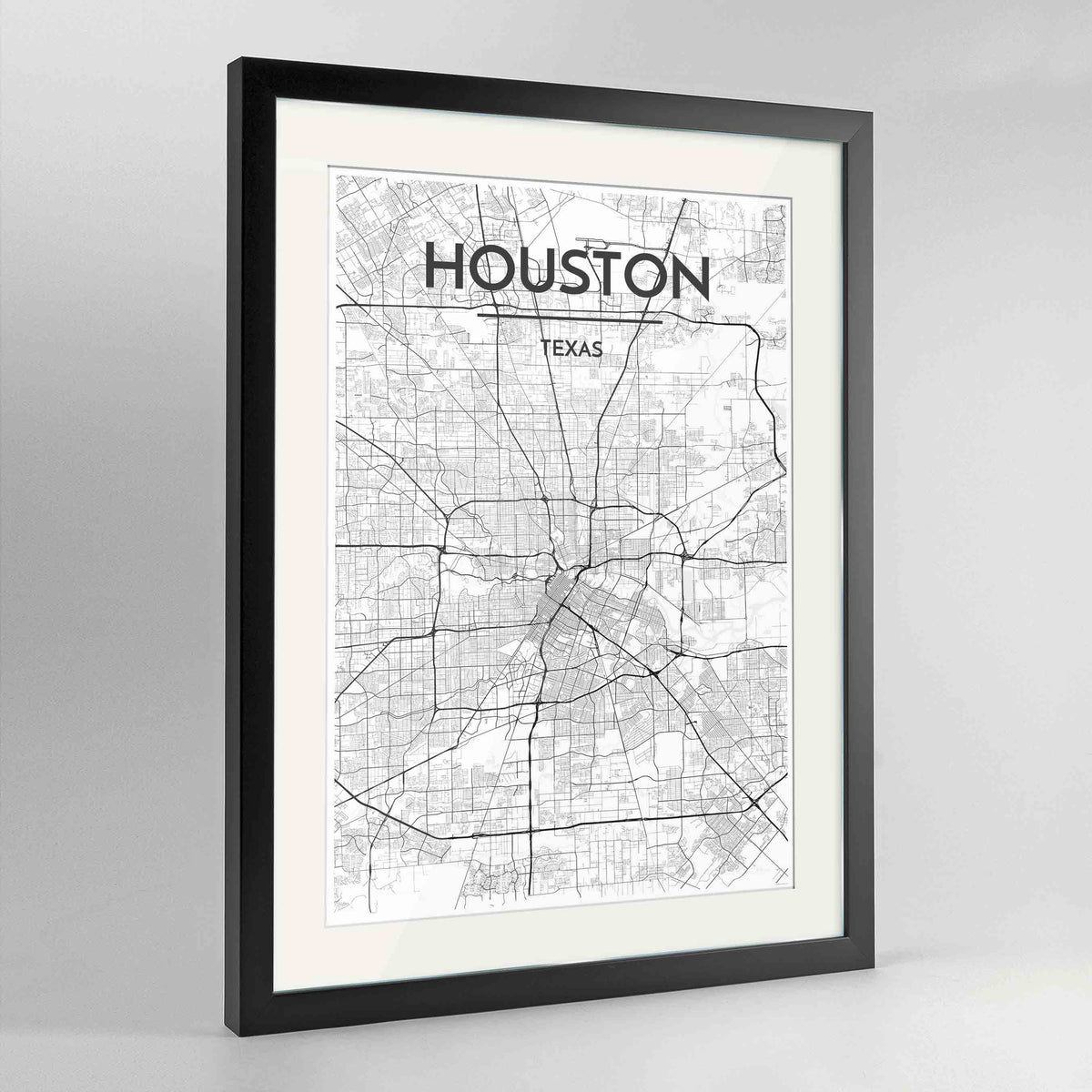 "Framed Houston Map Art Print 24x36"" Contemporary Black frame Point Two Design Group"