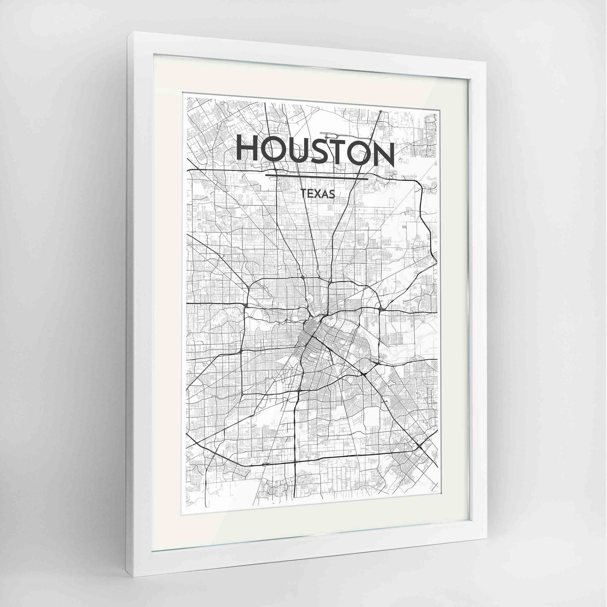"Framed Houston Map Art Print 24x36"" Contemporary White frame Point Two Design Group"