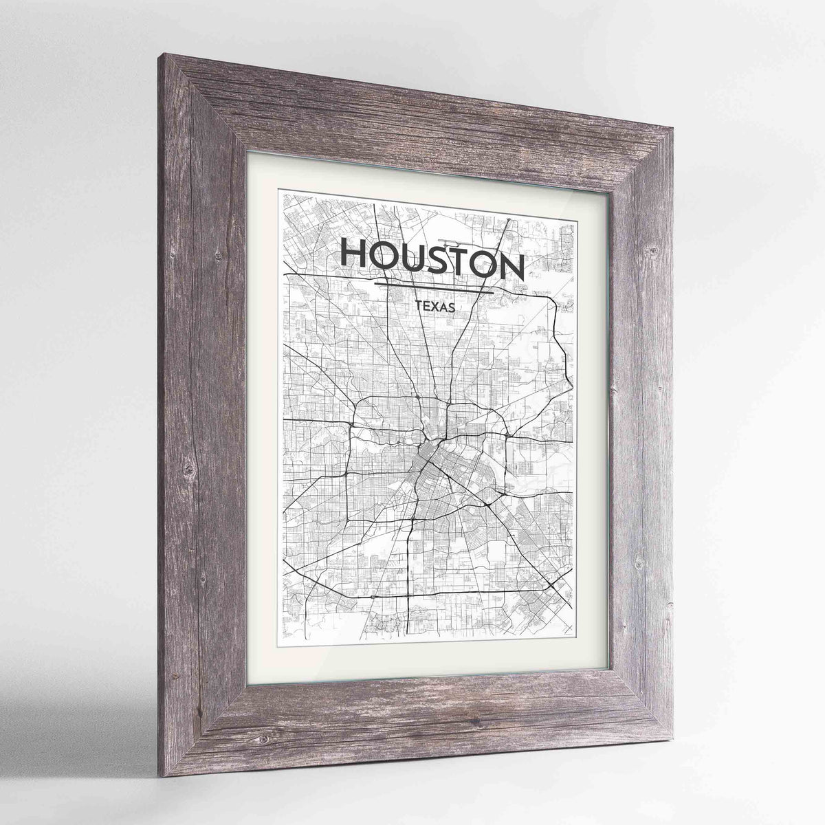 "Framed Houston Map Art Print 24x36"" Western Grey frame Point Two Design Group"