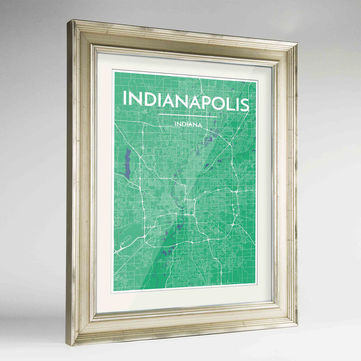 "Framed Indianapolis Map Art Print 24x36"" Champagne frame Point Two Design Group"