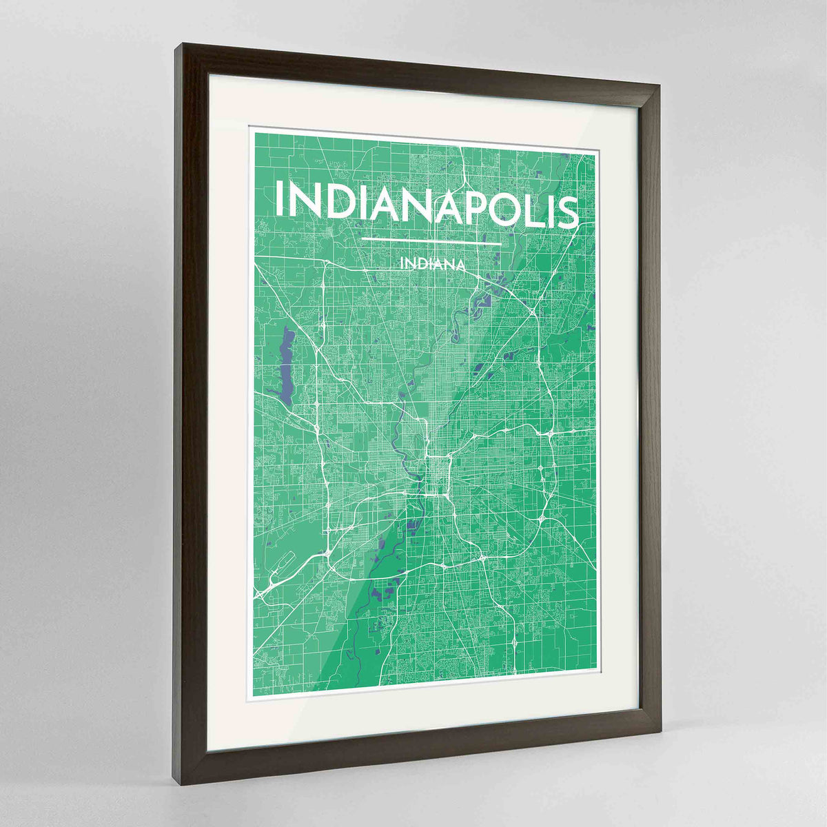 "Framed Indianapolis Map Art Print 24x36"" Contemporary Walnut frame Point Two Design Group"