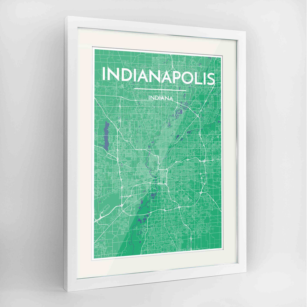 "Framed Indianapolis Map Art Print 24x36"" Contemporary White frame Point Two Design Group"
