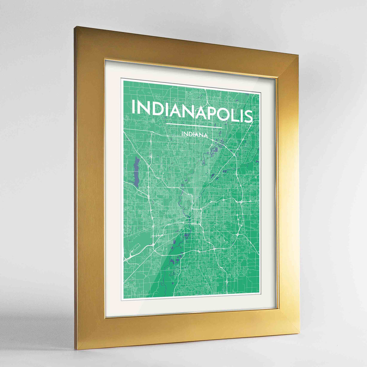 "Framed Indianapolis Map Art Print 24x36"" Gold frame Point Two Design Group"