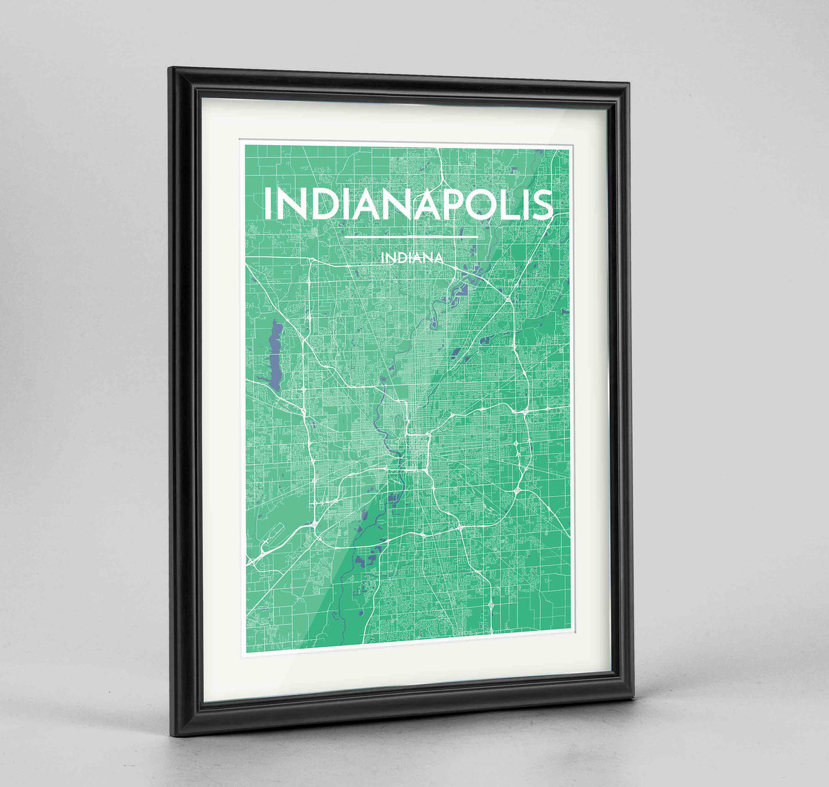 "Framed Indianapolis Map Art Print 24x36"" Traditional Black frame Point Two Design Group"