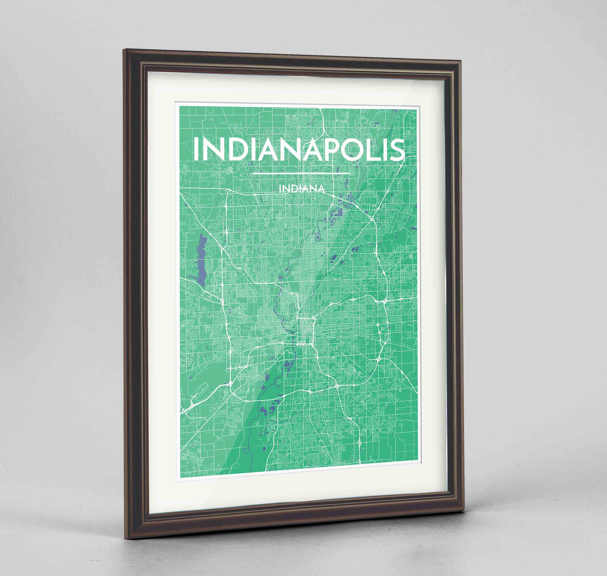 "Framed Indianapolis Map Art Print 24x36"" Traditional Walnut frame Point Two Design Group"