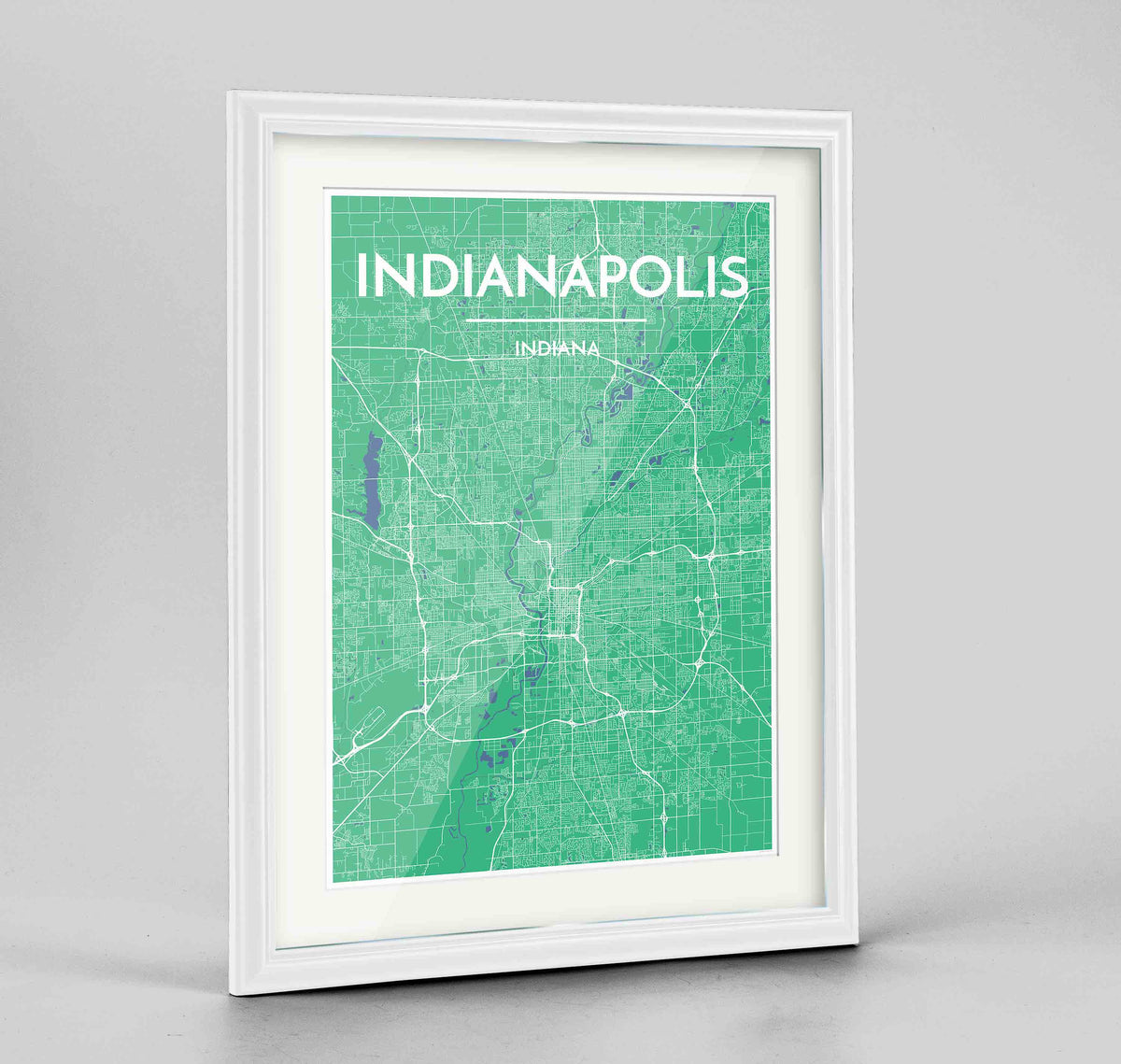 "Framed Indianapolis Map Art Print 24x36"" Traditional White frame Point Two Design Group"