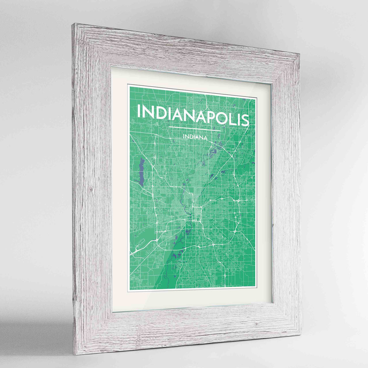 "Framed Indianapolis Map Art Print 24x36"" Western White frame Point Two Design Group"