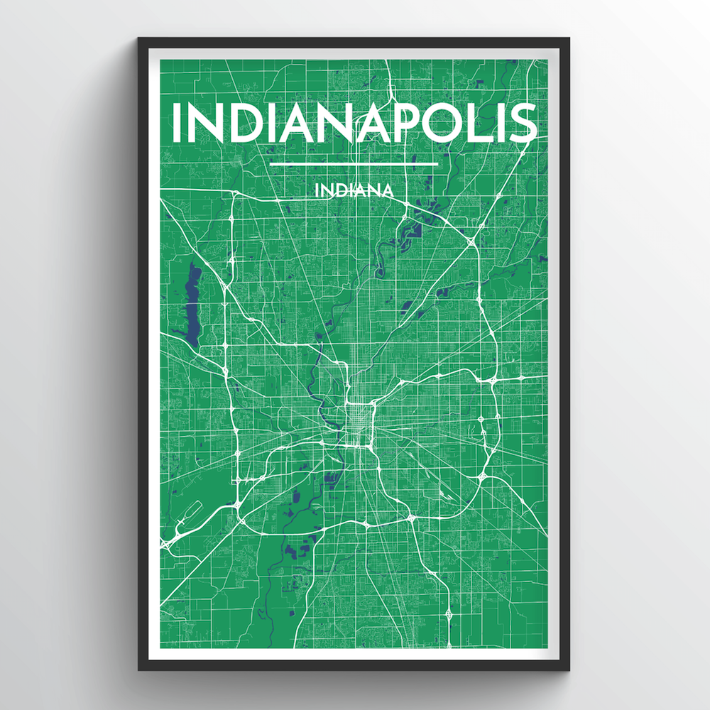 Indianapolis City Map Art Print - Point Two Design