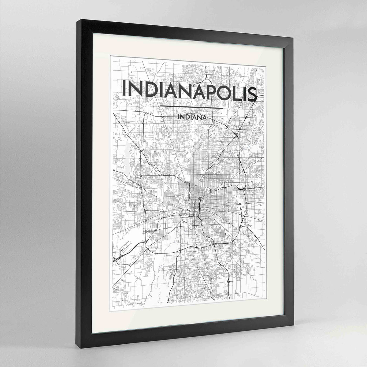 "Framed Indianapolis Map Art Print 24x36"" Contemporary Black frame Point Two Design Group"