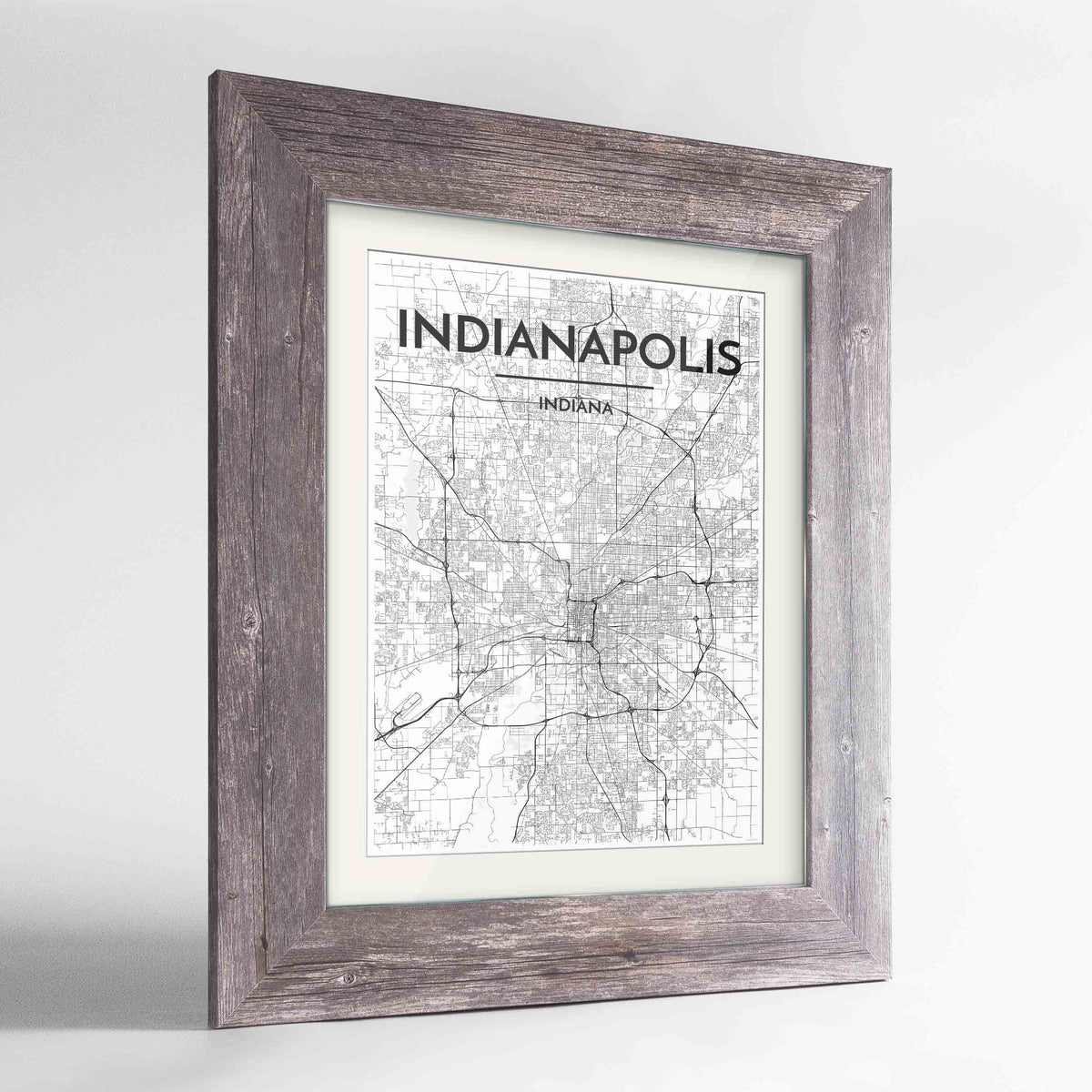"Framed Indianapolis Map Art Print 24x36"" Western Grey frame Point Two Design Group"