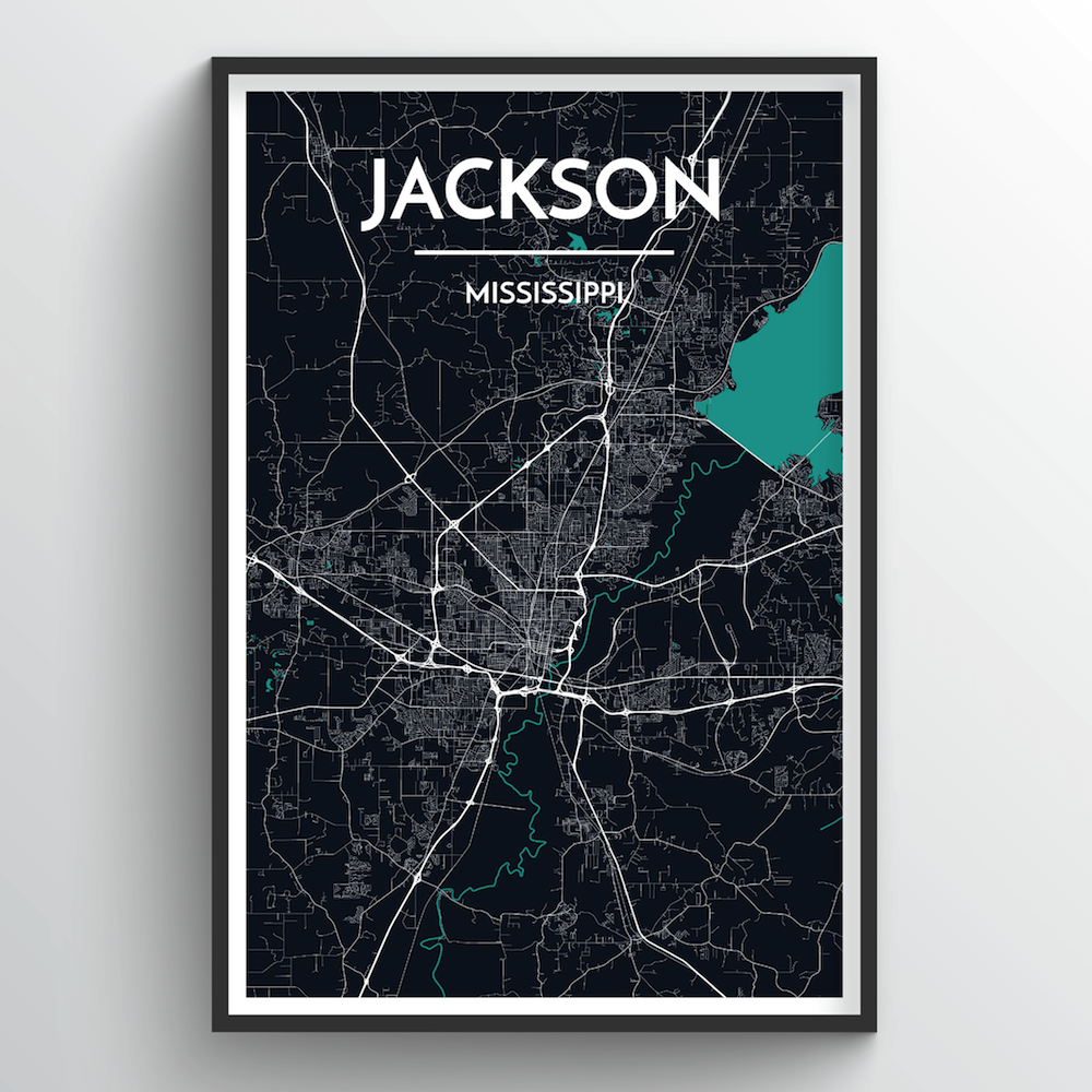 Jackson City Map Art Print - Point Two Design