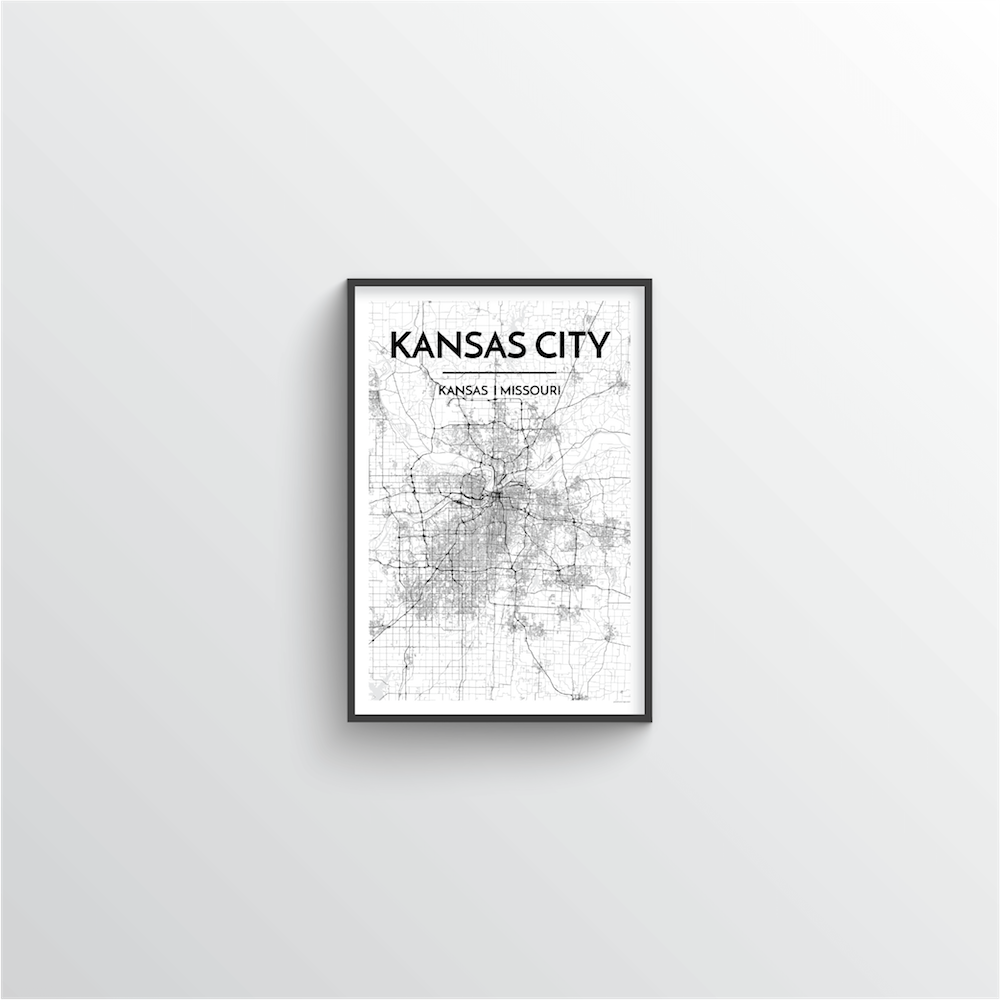 Kansas City Map Art Print - Point Two Design - Black & White Print