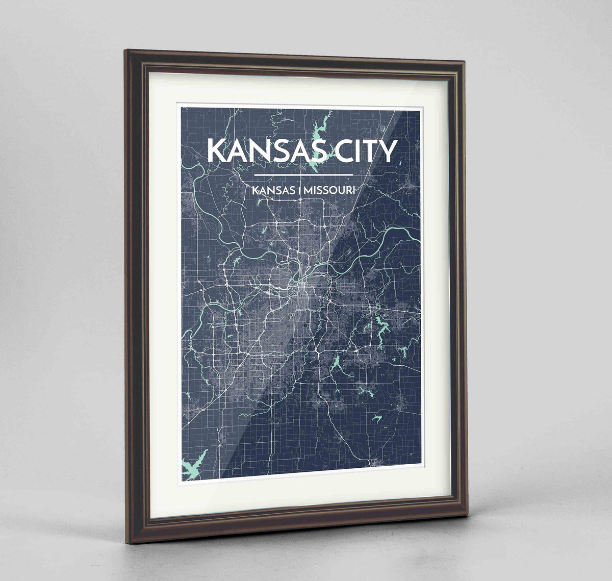"Framed Kansas Map Art Print 24x36"" Traditional Walnut frame Point Two Design Group"