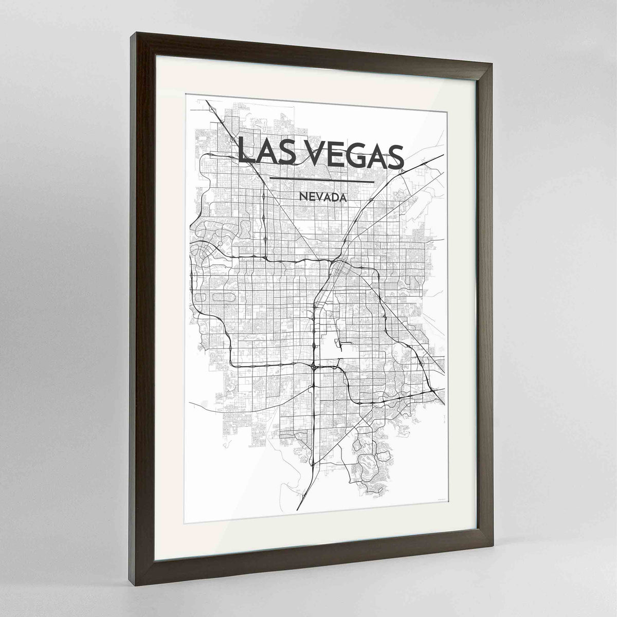 "Framed Las Vegas Map Art Print 24x36"" Contemporary Walnut frame Point Two Design Group"