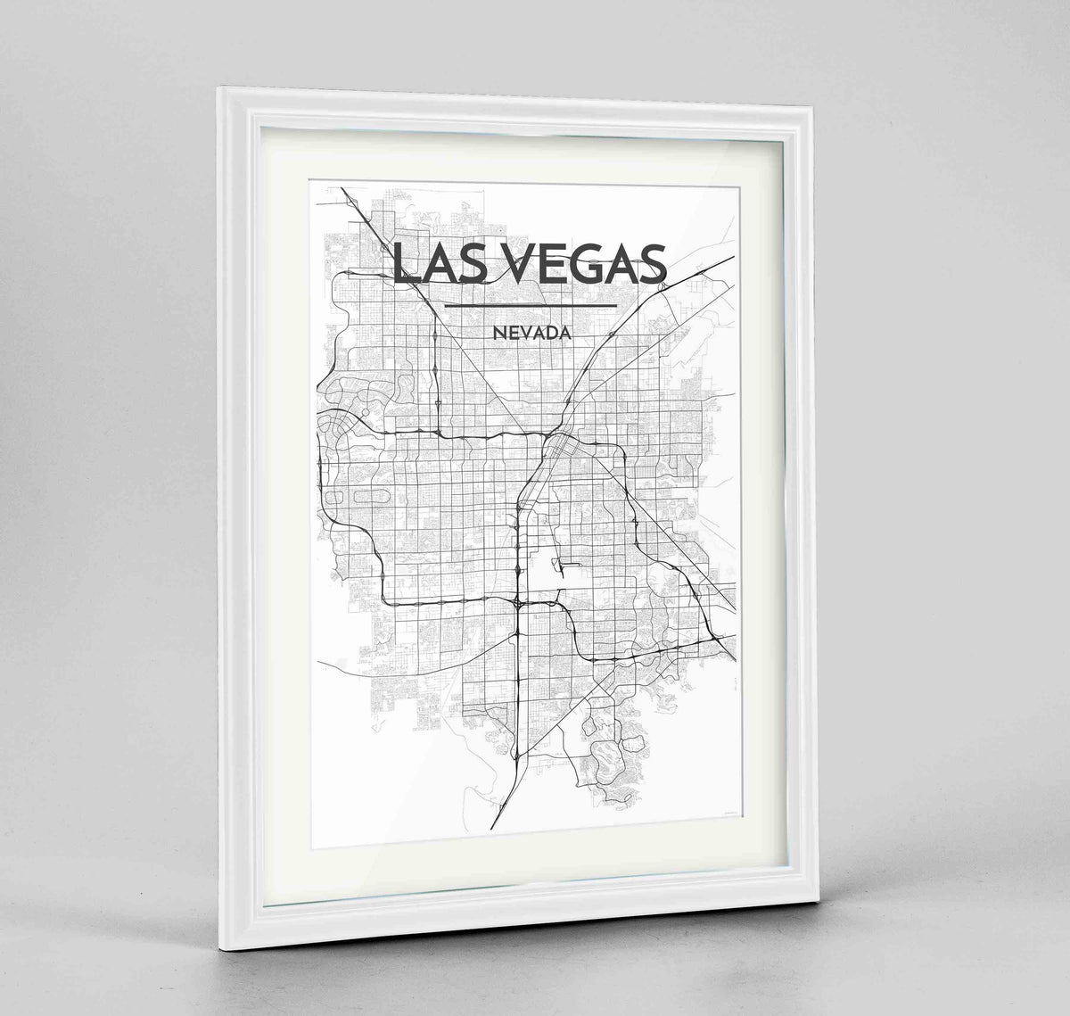 "Framed Las Vegas Map Art Print 24x36"" Traditional White frame Point Two Design Group"