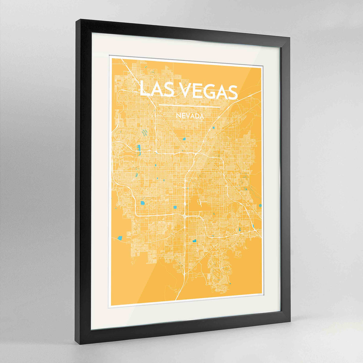 "Framed Las Vegas Map Art Print 24x36"" Contemporary Black frame Point Two Design Group"