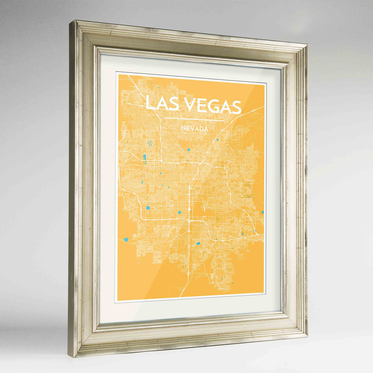 "Framed Las Vegas Map Art Print 24x36"" Champagne frame Point Two Design Group"