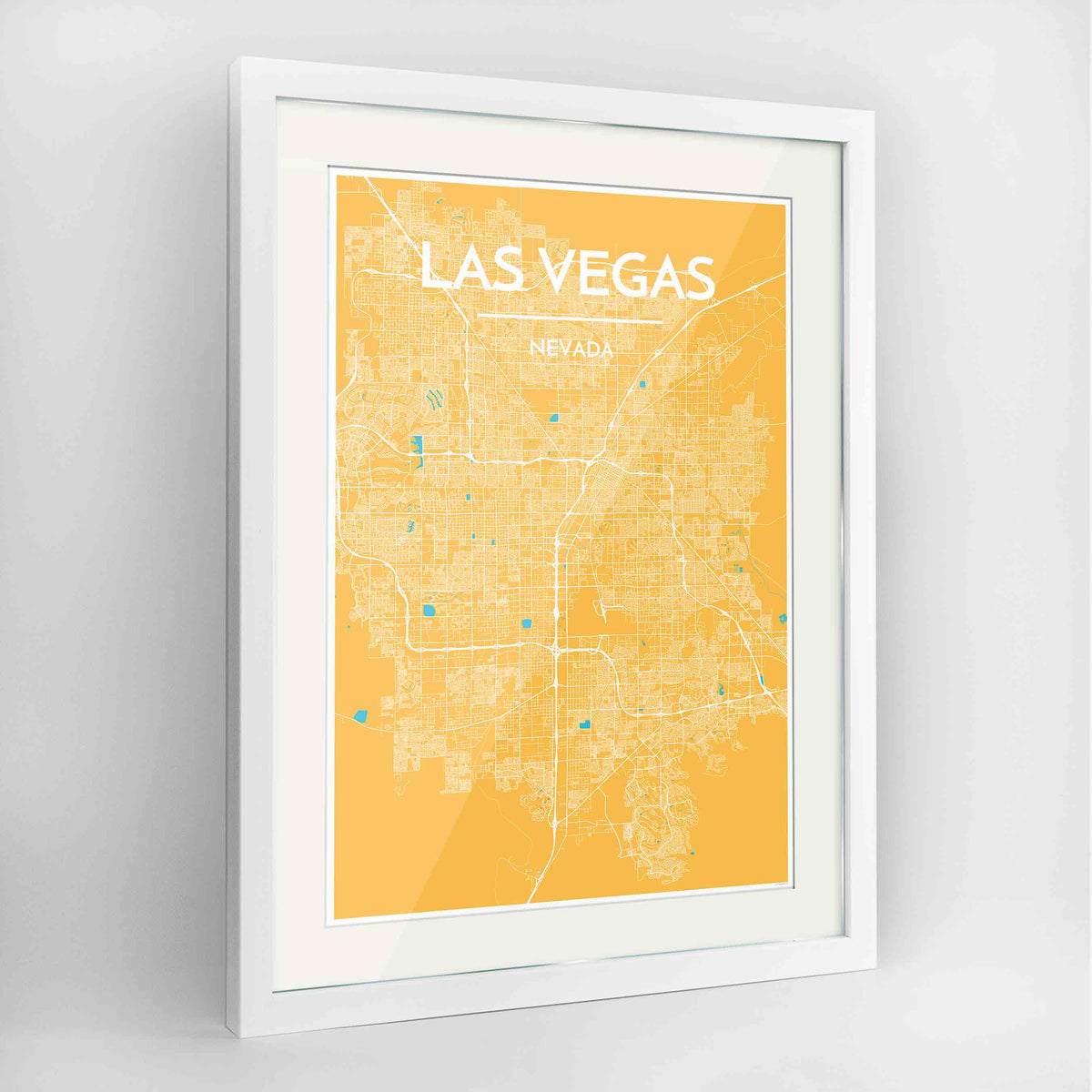 "Framed Las Vegas Map Art Print 24x36"" Contemporary White frame Point Two Design Group"