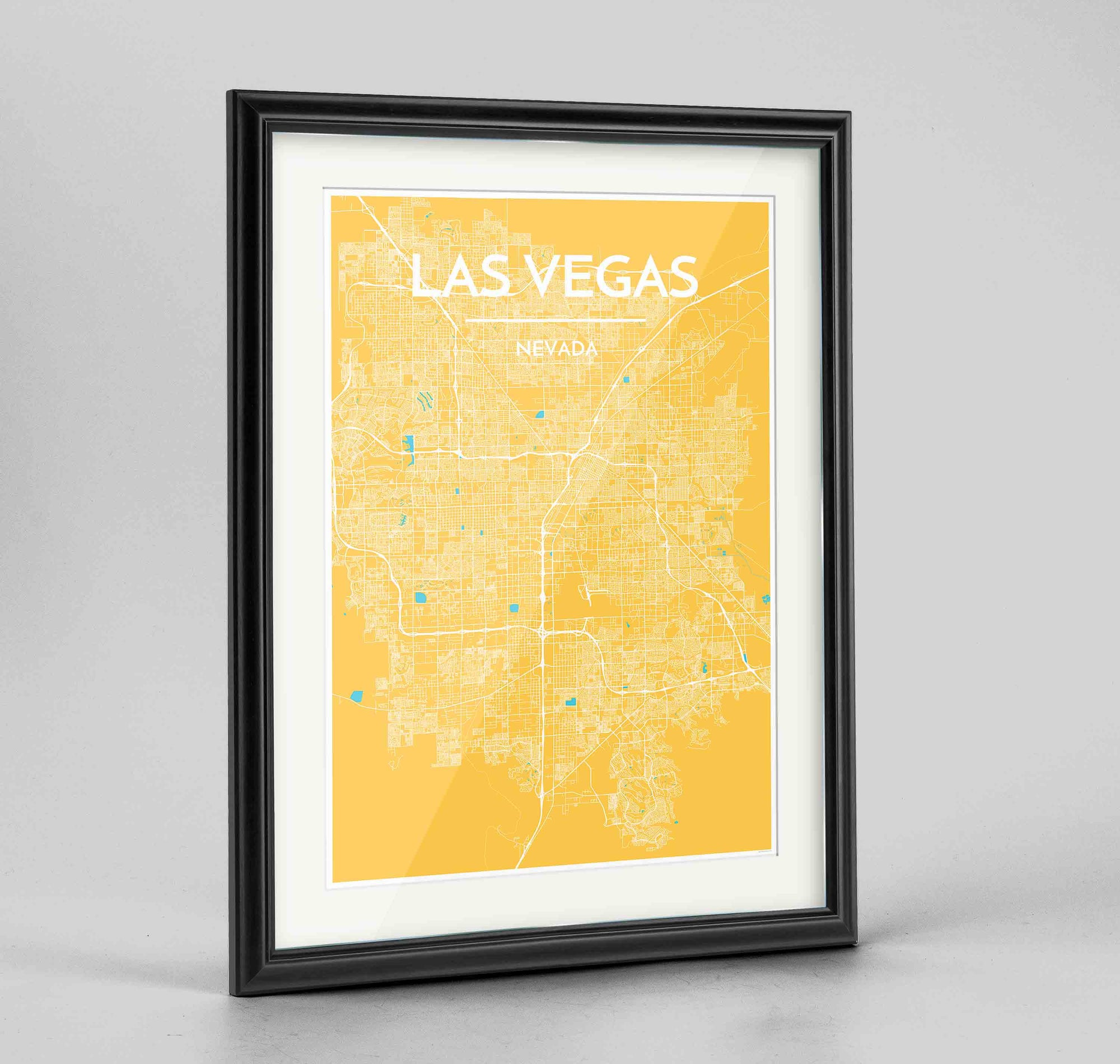 "Framed Las Vegas Map Art Print 24x36"" Traditional Black frame Point Two Design Group"